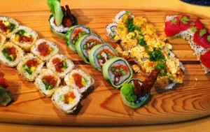 Stock up a custom surfboard with delicious sushi